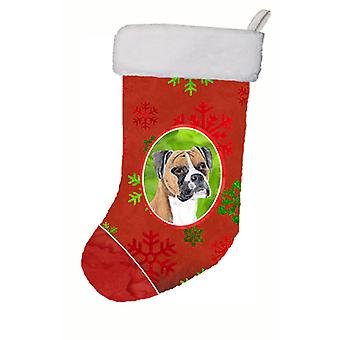 Boxer Red and Green Snowflakes Holiday Christmas Christmas Stocking SC9430