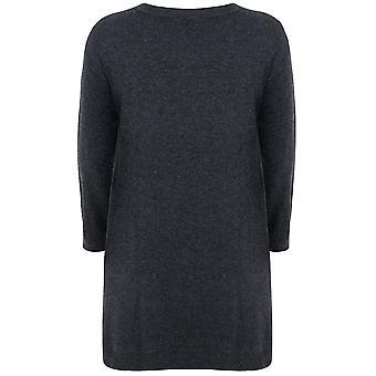 Vestido túnica con detalle frontal Panel de punto gris oscuro