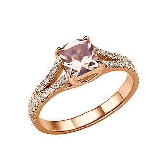 Natural peach/pink 2.20 CTW VS Morganite Ring with Diamonds Rose Gold 14K Split Shank Vintage