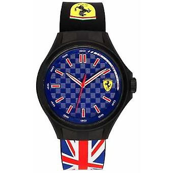 Scuderia Ferrari Mens Pit Crew Union Flag Rubber Strap Blue Dial 0830351 Watch