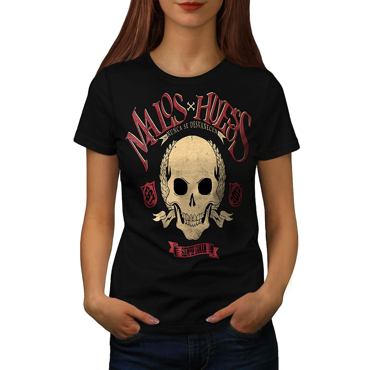 Malos Huesos Rose Skull Women Black T-shirt | Wellcoda
