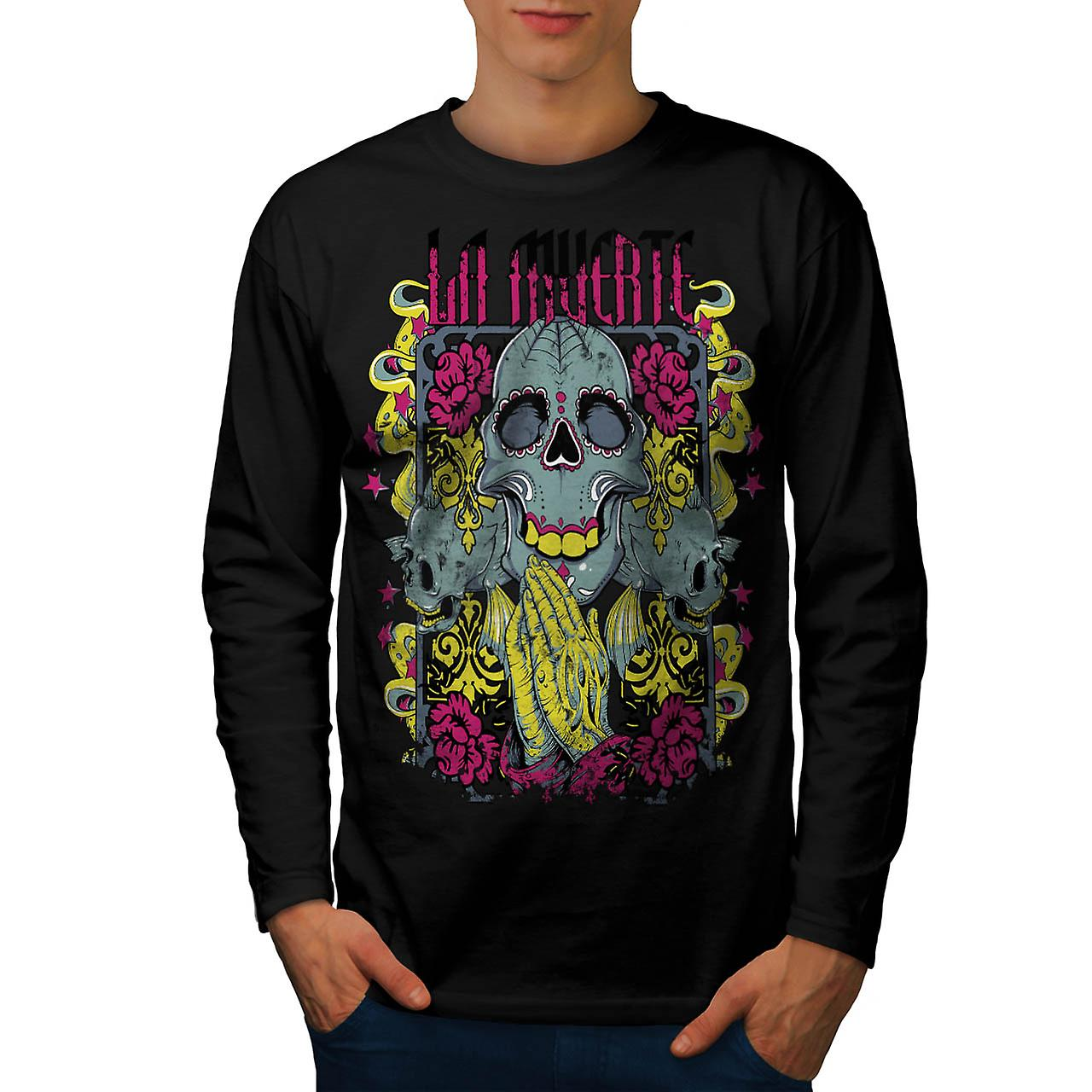 Muerte Rose Cool Skull Mask Horror Men Black Long Sleeve T-shirt | Wellcoda