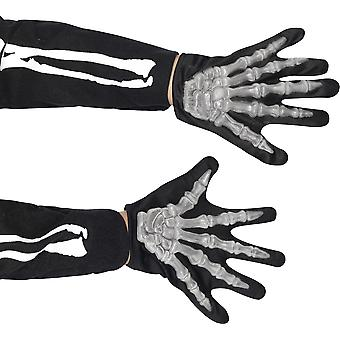 Smiffys Childrens Skeleton Gloves Bones Halloween Fancy Dress Accessory Reaper