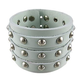 Gray Leather 3 Row Cone Spiked Wristband