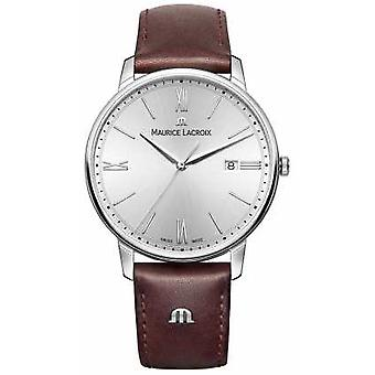 Maurice Lacroix Mens Eliros Brown Leather bracelet cadran argenté EL1118-SS001-110-1 montre