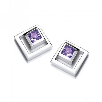 Cavendish French Silver and Amethyst CZ Square in Square Earrings