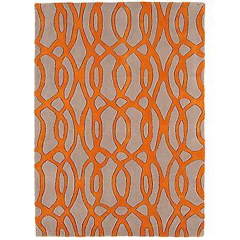 Matrix Cream & Orange Trellis Wool  Viscose Rug