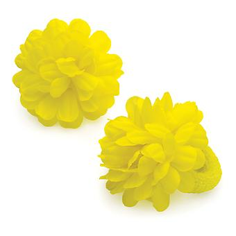 Two Piece Yellow Colour Medium Size Flower Ponio Set 7cm
