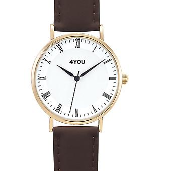 4YOU Dameur wrist watch analog quartz syntetisk læder 250001001