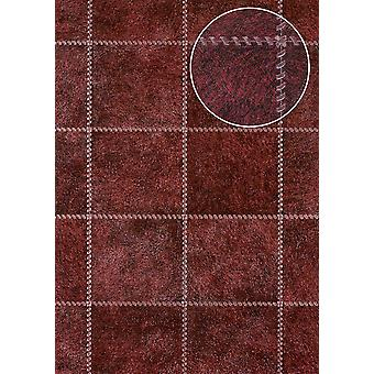 Embossed wallpaper Atlas SKI-7605-5 non-woven wallpaper minted in coat patterns shimmering red purple red black red perl-beige 7,035 m2