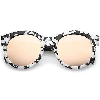 Women's Matte Horn Rimmed Marble Print Flat Lens Round Sunglasses 54mm