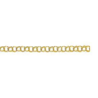 14 k イエロー ゴールド スパークル カット ダブル リンク チャーム ブレスレット ロブスタークラスプ - 6 インチ 4.3 グラム