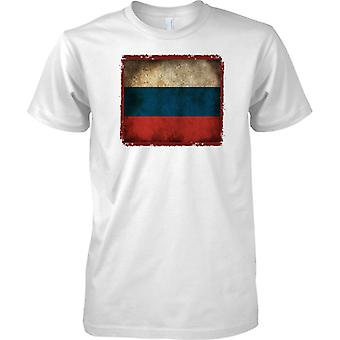 Russia Federation Grunge Grunge Effect Flag - Tricolour - Mens T Shirt