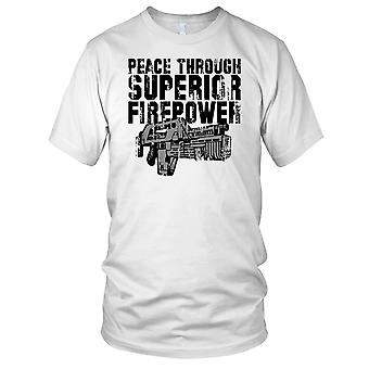 Peace Through Superior Firepower Aliens Sci Fi Inspired Ladies T Shirt
