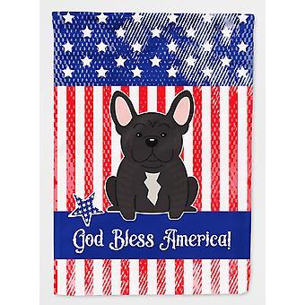 Patriotic USA French Bulldog Brindle Flag Garden Size