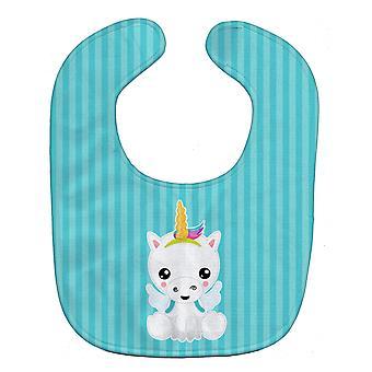 Carolines Treasures  BB9141BIB Unicorn on Blue Stripes Baby Bib