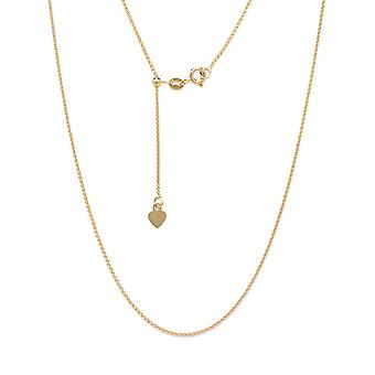 10k Fine Gold Adjustable Solid Rope Chain Necklace w/ Spring Ring Clasp and Small Heart Charm 1.5mm 24