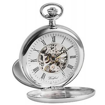 Woodford Albert Skeleton Twin Lid Pocket Watch - Silver