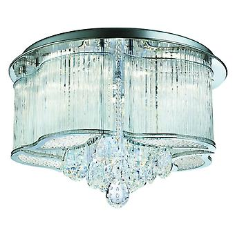 Mela Chrome And Crystal Led Flush Ceiling Light - Searchlight 7985-48cc