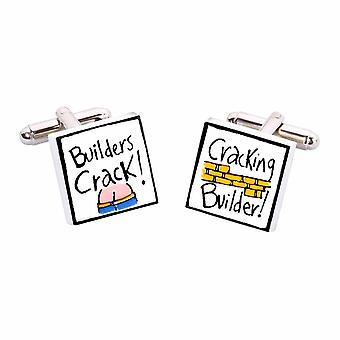 Builders Crack, Cracking Builder Cufflinks by Sonia Spencer, in Presentation Gift Box. Building, Property.