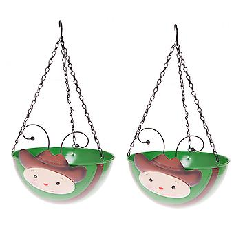 Pair COWBOY Wobblehead Metal Hanging Baskets 11' 28cm diameter
