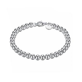 Womens Ladies Silver Plated Small Ball Beads Bracelet Bangle With Lobster Clasp Close