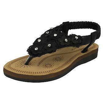 Girls Spot On Toepost Flower Trim Sandals H0261
