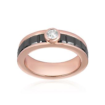 Ring plate rose gold, Black ceramic and Crystal Cubic Zirconia