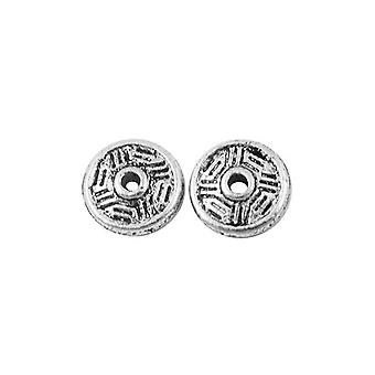 Packet 50+ Antique Silver Tibetan 8mm Donut Spacer Beads HA15650