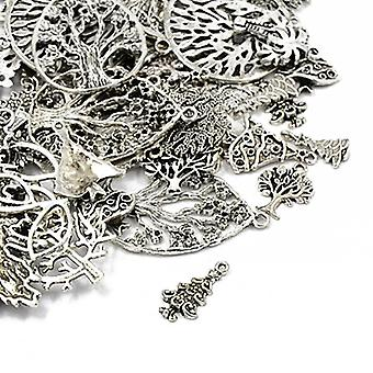 Packet 30 Grams Antique Silver Tibetan 5-40mm Tree Charm/Pendant Mix HA07070