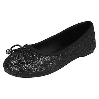 Girls Spot On Glitter Ballerinas H2488 - Black Glitter - UK Size 13 - EU Size 32 - US Size 1