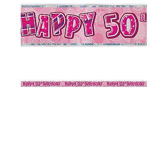 Banner compleanno Glitz Rosa 50thcompleanno Prisma