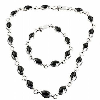 Shades of Black Silver Necklace mexicain Set