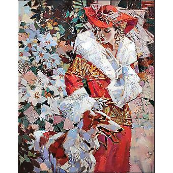Collection D'art Diamond Embroidery/Printed/Gem Kit 48X38cm-Lady With A Dog