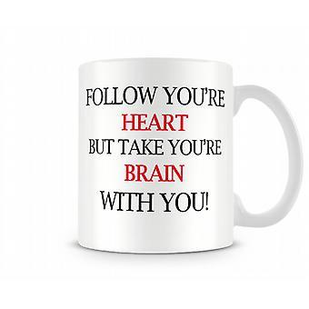 Heart Brain Printed Mug