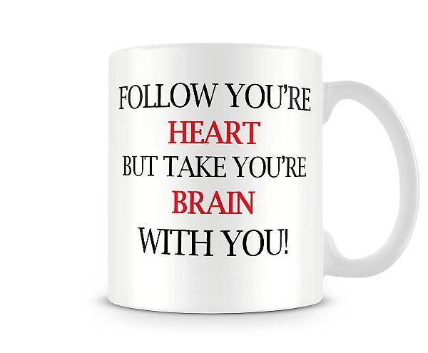 Heart Brain Printed Mug