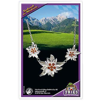 Halskette Edelweiss ca. 52cm Oktoberfest Bayern drei Blütten Dirndl