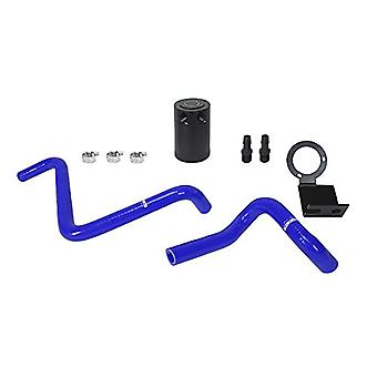 Mishimoto MMBCC-BRZ-13PBL PCV Side Baffled Oil Catch Can with Black Bracket/Blue Hoses