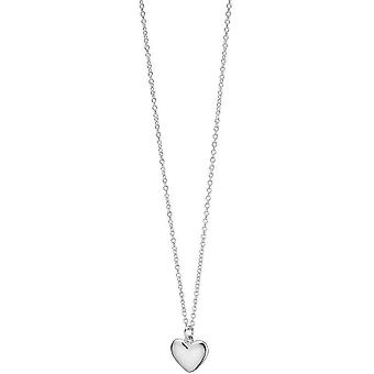 Beginnings Small Puffed Heart Necklace - Silver