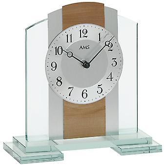 Tischuhr Quarz, Mineralglasgehäuse mit Kernbuche / Aluminium-Auflage