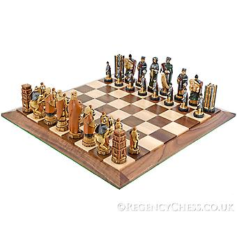 Battle of Hastings Hand Painted Walnut Chess Set