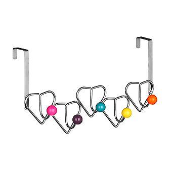 Über der Tür Kleiderbügel Chrom/5 Haken Multi Color Herz Plastikbälle, Design