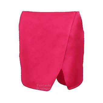 Ladies Wrap Wet Look Plain Women's Party Casual Mini Skirt Shorts Culottes Skort