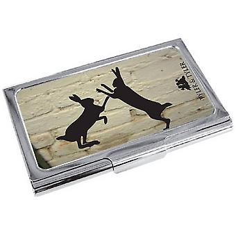 Tyler and Tyler White Brick Sparring Hares Business Card Case - Cream/Black/Silver