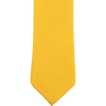 Knightsbridge Neckwear Plain Cotton Skinny Tie - Mustard Yellow