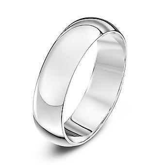Star Wedding Rings 9ct White Gold Heavy D Shape 5mm Wedding Ring
