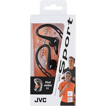 JVC HAECX20B Ear Clip In-Ear Sports Sweat & Splash Proof Pivot Motion Headphones
