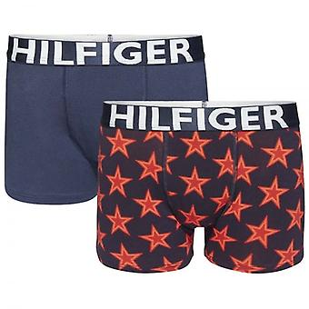 Tommy Hilfiger jungen 2 Pack Boxer Trunk, Scooter rot / Navy Blazer, Medium
