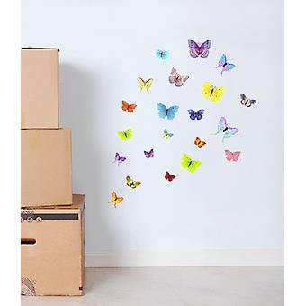 Full Colour Set of 21 Colourful Butterfly Wall Sticker