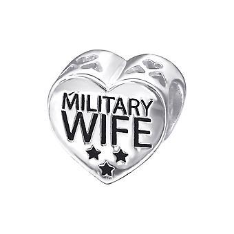 Herz militärische Frau - 925 Sterling Silber Plain Beads - W10304X